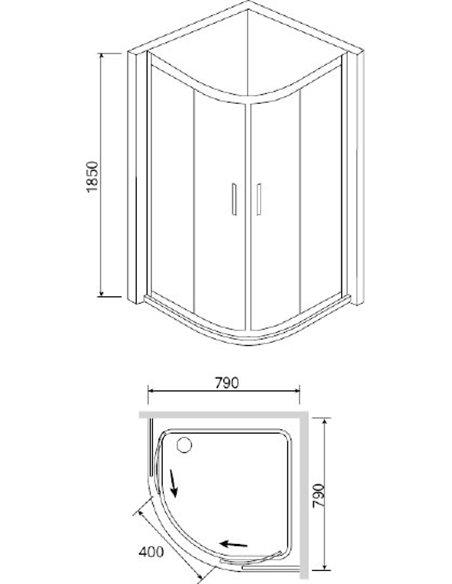 RGW dušas stūris Classic CL-51 (765-790)x(765-790)x1850 - 3
