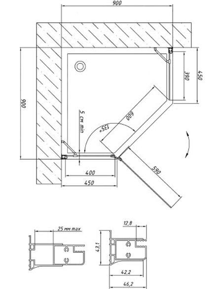 Vegas Glass dušas stūris AFA-Pen 90 08 01 L - 6