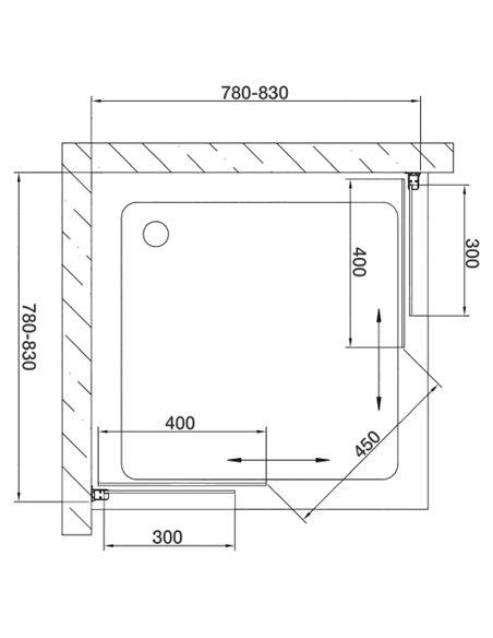Vegas Glass dušas stūris ZA 80 05 05 - 7
