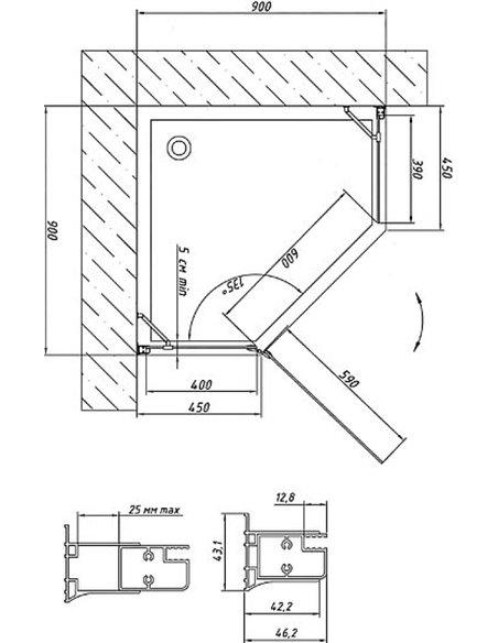 Vegas Glass dušas stūris AFA-Pen 90 09 10 L - 7
