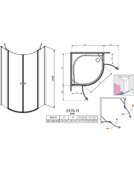 Radaway dušas stūris EOS II PDD - 6