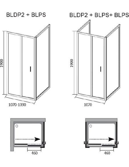 Ravak dušas stūris BLDP2-110+BLPS - 6