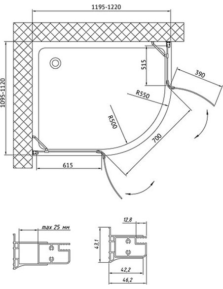 Vegas Glass dušas stūris AFS-F 120*110 01 01 L - 8