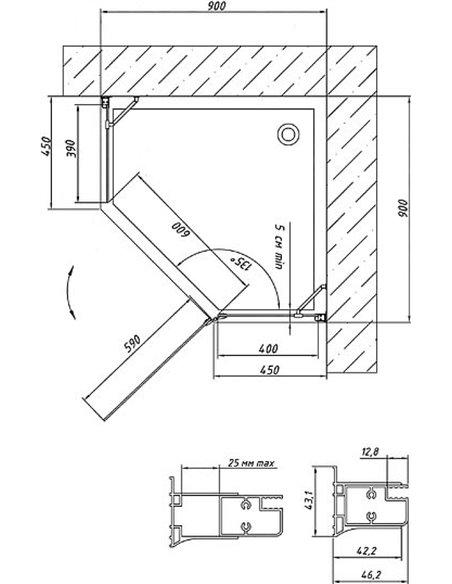 Vegas Glass dušas stūris AFA-Pen 90 05 01 R - 6