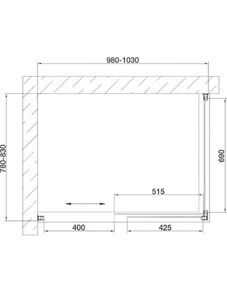 Vegas Glass dušas stūris ZP+ZPV 100*80 07 02 - 7