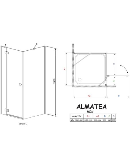 Radaway dušas stūris Almatea KDJ - 6