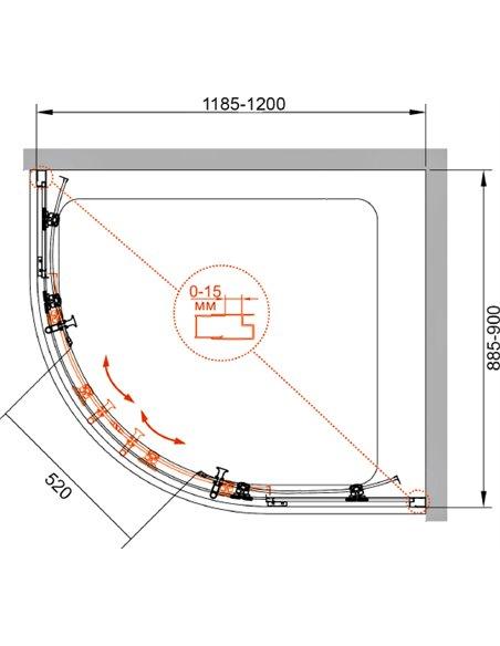 Cezares dušas stūris Eco RH 2 120/90 P Cr - 9