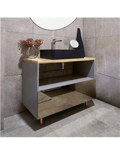 Honey Furniture vannas istabas skapītis The Copper Fog, ar atjaunota koka virsmu, plašu 3 nodalījumu atvilktni, kluso aizvēršanu