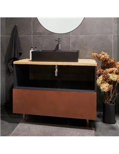 Honey Furniture vannas istabas skapītis The Wild Dust, ar atjaunota koka virsmu, plašu 3 nodalījumu atvilktni, kluso aizvēršanu,
