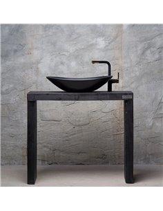 Honey Furniture vannas istabas skapitis The Black Arch, atjaunots koks, melns, iespējamas krāsu un izmēra variācijas - 1