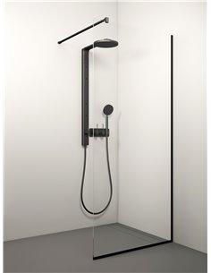 Stikla Serviss dušas siena KAIRA BLACK 100x200 Caurspīdīga - 1