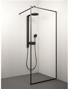 Stikla Serviss dušas siena KAIRA BLACK ALU 60x200 Caurspīdīga - 1