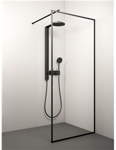 Stikla Serviss Shower wall KAIRA BLACK DEEP1 120x200 Clear - 1
