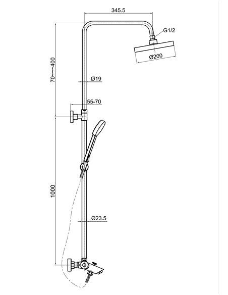 Vannas jaucējkrāns-termostats ar komplektu MG-2295 MAGMA AMATA