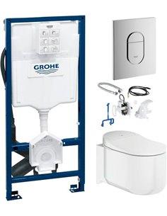 Set: Grohe Sensia Arena 124846 wall hung toilet with bidet + frame + flush plate - 1