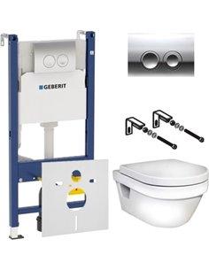 Komplekts:  Tualetes pods piekaramais Gustavsberg Hygienic Flush WWC 5G84HR01 bez apmaliņas + Rāmis tualetes podiem Geberit Duof