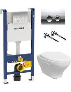 Komplekts: Rāmis tualetes podiem Geberit Duofix Delta 458.124.21.1 3 in 1 ar pogu + Tualetes pods piekaramais Gustavsberg Estet