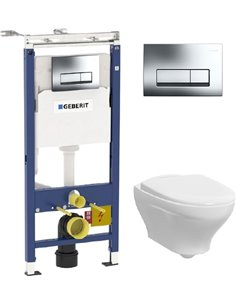 Komplekts:  Rāmis tualetes podiem Geberit Duofix Платтенбау 458.125.21.1 4 in 1 ar pogu + Tualetes pods piekaramais Gustavsberg