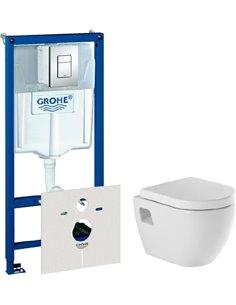 Komplekts:  Rāmis tualetes podiem Grohe Rapid SL 38775001 4 in 1 ar pogu + Tualetes pods piekaramais Sanindusa Sanibold 137932