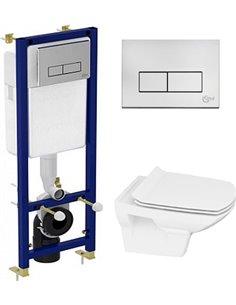 Komplekts: Tualetes pods piekaramais Cersanit Carina new clean on slim lift + Rāmis tualetes podiem Ideal Standard W3710AA 4 in