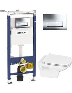 Komplekts: Rāmis Geberit Duofix Платтенбау 4 in 1 ar pogu + Tualetes pods Cersanit Carina new clean on slim lift - 1
