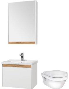 Комплект  Унитаз подвесной Gustavsberg Hygienic Flush WWC 5G84HR01 безободковый + Мебель для ванной STWORKI Стокгольм 60