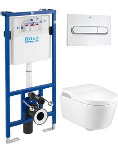 Komplekts: Rāmis tualetes podiem Roca DUPLO WC 890090020 + Tualetes pods piekaramais Roca Inspira in-wash + Poga Roca PL1 Dual