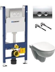 Komplekts: Geberit Selnova 458.124.21.1-500.265 tualetes pods + rāmis + poga + skāņas izolācija - 1