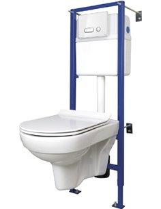 Komplekts: Cersanit City New Clean On tualetes pods + rāmis + poga - 1
