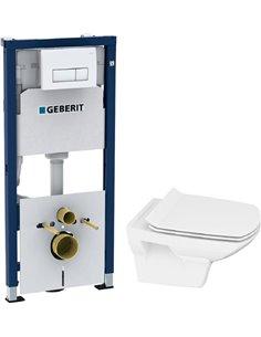 Komplekts: Rāmis Geberit Duofix 4 in 1 ar pogu + Tualetes pods Cersanit Carina new clean on slim lift - 1