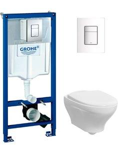 Komplekts:  Rāmis tualetes podiem Grohe Rapid SL 38772001 3 in 1 ar pogu + Tualetes pods piekaramais Gustavsberg Estetic Hygieni