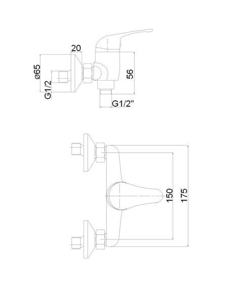 Dušas jaucējkrāns ar komplektu MG-3241 MAGMA SATO - 2