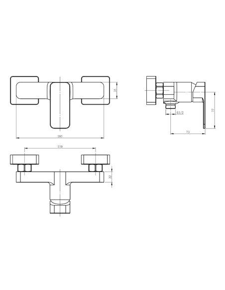 Dušas jaucējkrāns bez komplekta MAGMA MALTA MG-2540KUR - 2