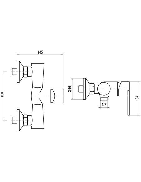 Dušas jaucējkrāns bez komplekta MG-1940 MAGMA GAUJA - 2