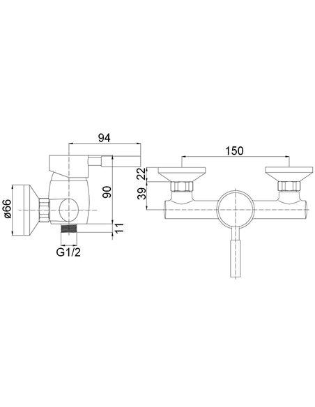 Dušas jaucējkrāns bez komplekta MG-2040 MAGMA ABAVA - 2