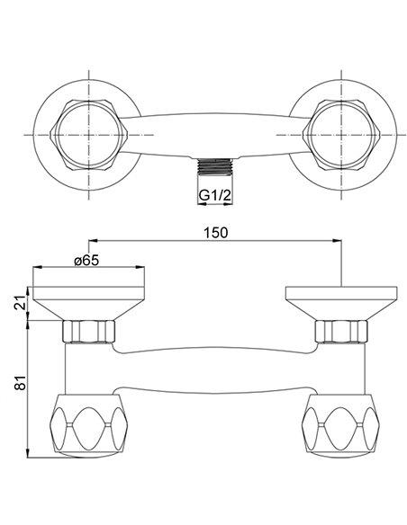 Dušas jaucējkrāns bez komplekta MG2140 RING MAGMA DIVUPE - 2