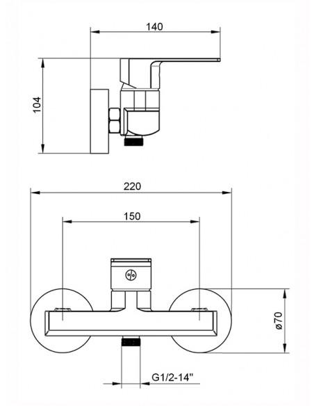 Dušas jaucējkrāns bez komplekta MG-2540/L MAGMA MALTA/L - 2