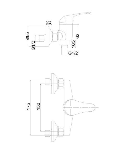 Dušas jaucējkrāns bez komplekta MG-6240 MAGMA JUPITS - 2