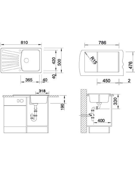 Komplekts: Virtuves izlietne Blanco Nova 45 S + Jaucējkrāns Mida 524202 - 4