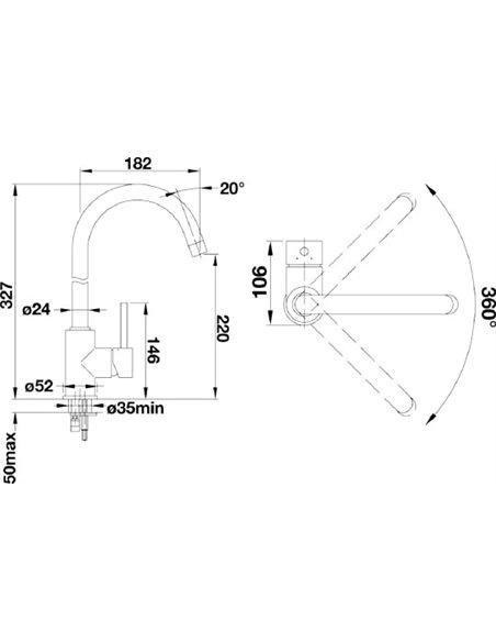Komplekts: Virtuves izlietne Blanco Nova 45 S + Jaucējkrāns Mida 524202 - 5