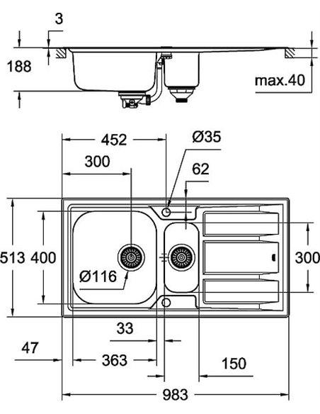 Grohe virtuves izlietne K400+ 31569SD0 - 4
