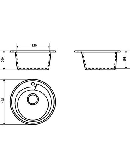 Komplekts: Virtuves izlietne Marrbaxx Венди Z004Q005 + Jaucējkrāns Marrbaxx MG-004Q005 - 3