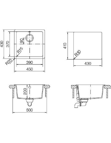 Schock virtuves izlietne Quadro 50 (N-100S) - 2