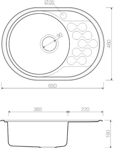 Omoikiri virtuves izlietne Kasumigaura 65-1 AB-L - 2