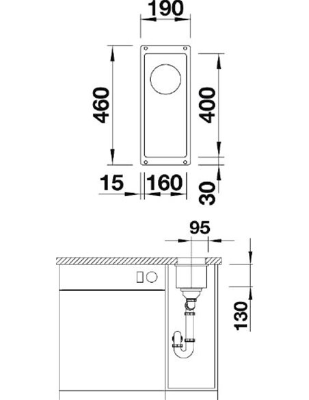 Blanco papildu virtuves izlietne Subline 160-U - 3
