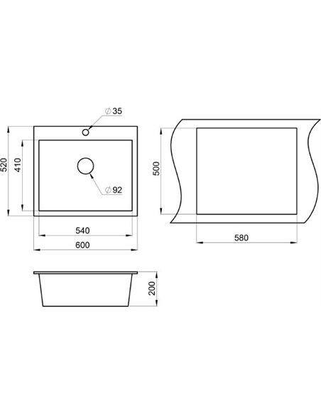 Granula virtuves izlietne GR-6001 графит - 2