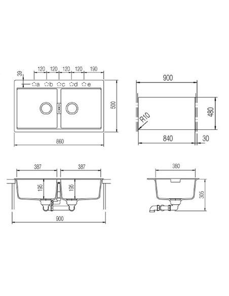 Schock virtuves izlietne Horizont 90 (N-200) - 2