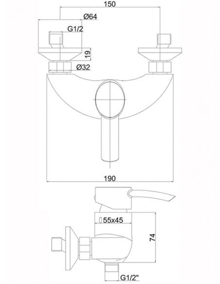 Dušas jaucējkrāns bez komplekta MG6440 MAGMA VENERA - 2