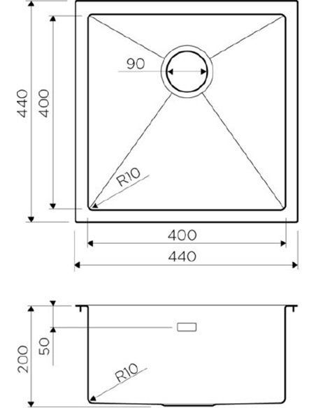 Omoikiri virtuves izlietne Taki 44-U/IF-LG - 3