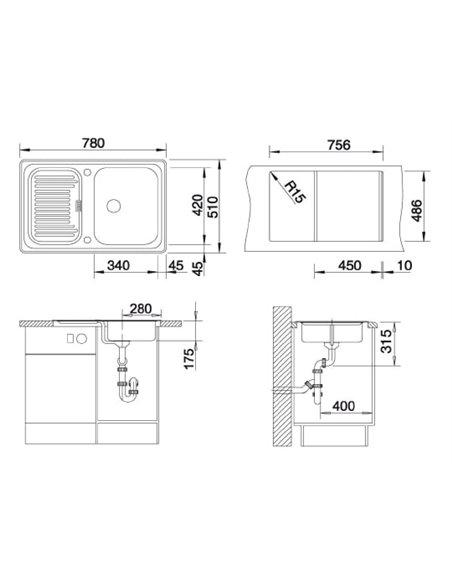 Komplekts: Virtuves izlietne Blanco Classic 45S + Jaucējkrāns Mida 524205 - 4